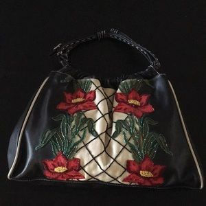 Isabella Fiore beaded leather shoulder bag